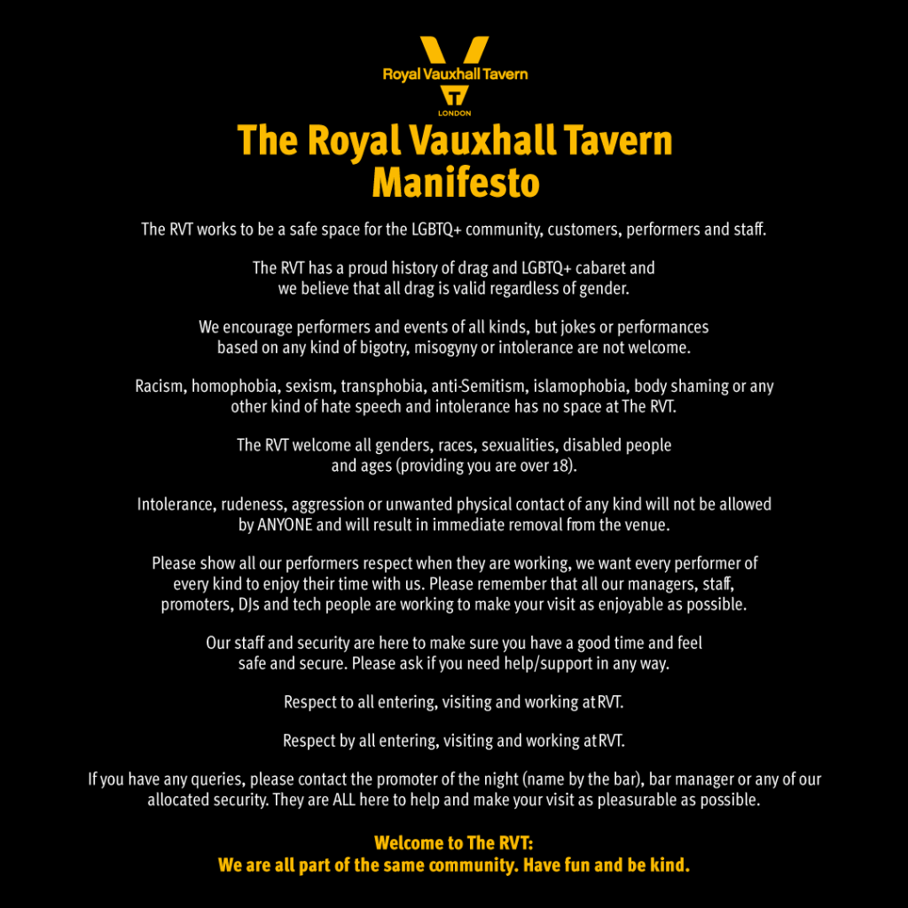 The Royal Vauxhall Tavern Manifesto