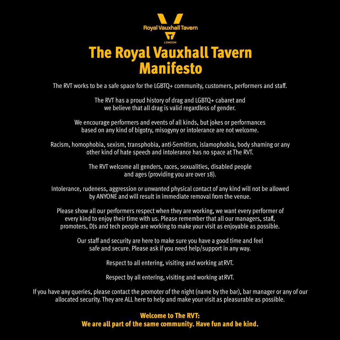 Royal Vauxhall Tavern Manifesto